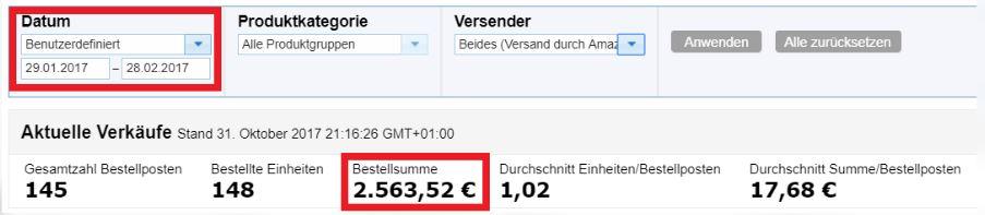 Amazon FBA Kurs Umsatz nach einem Monat